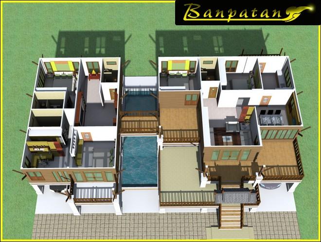 แบบบ้านใต้ถุนสูงไทยประยุกต์5ห้องนอน