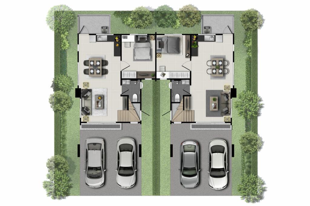 แบบบ้านแฝด 2 ชั้น ฟรี
